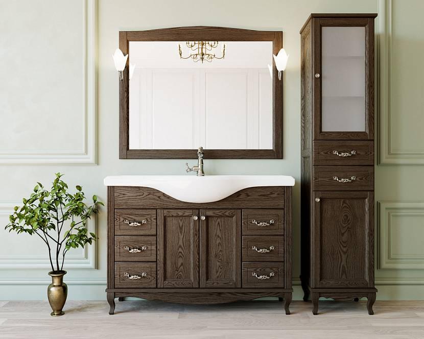 Комод из дерева как часть мебельного гарнитура для ванной