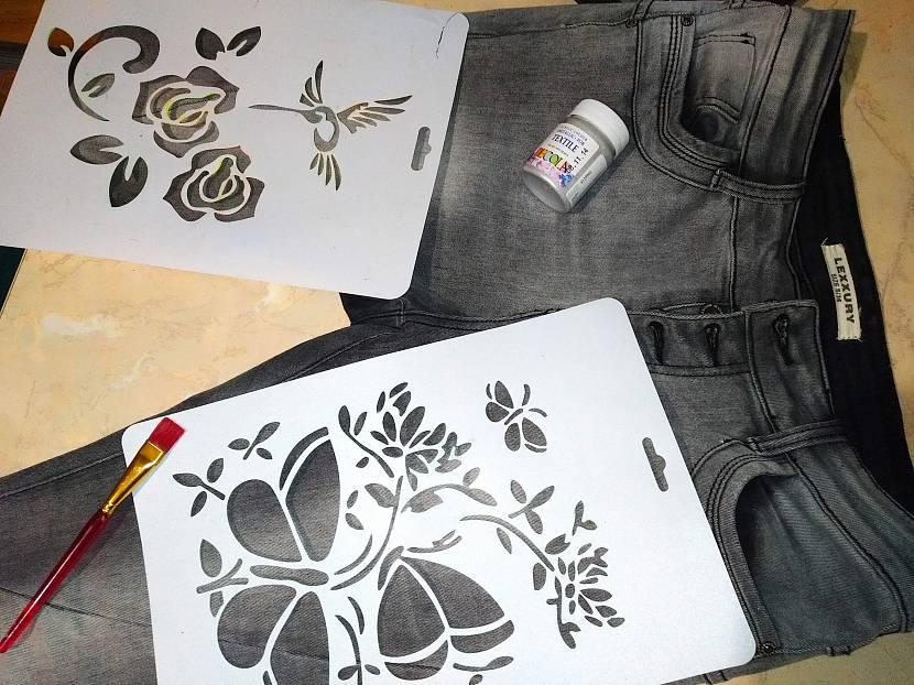 Рисование акриловыми красками по ткани через трафарет