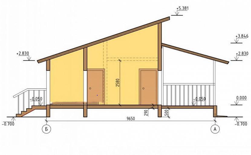 дом каркасный с односкатной крышей и навесом