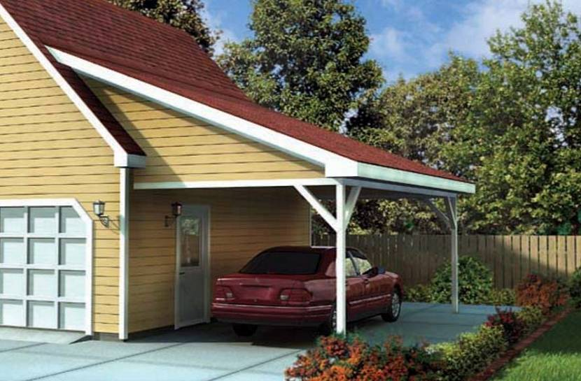 Крыша дома и навеса в едином стиле