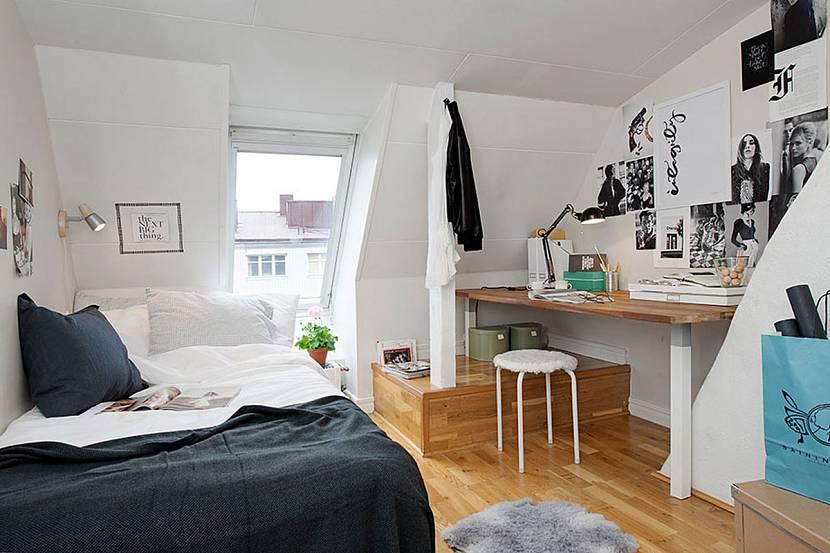 Комната для подростка в мансардном помещении
