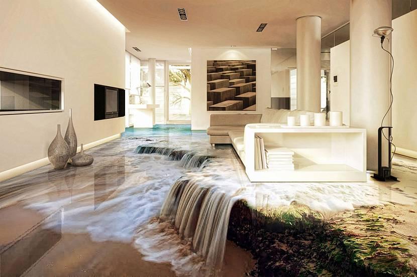 Текущая вода в гостиной