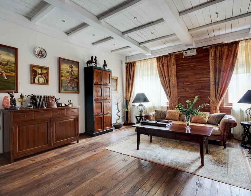 Светлая гостиная в стиле гранж