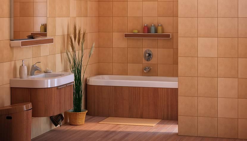 Красивая ванная комната в насыщенном кирпичном