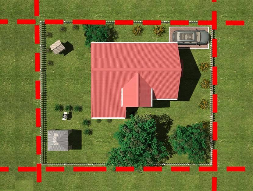 Красная линия на участке с жилым домом и хозяйственными постройками