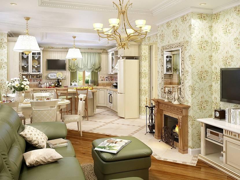 кухня гостиная в стиле прованс в частном доме