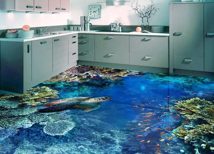 Наливной 3д пол на кухне