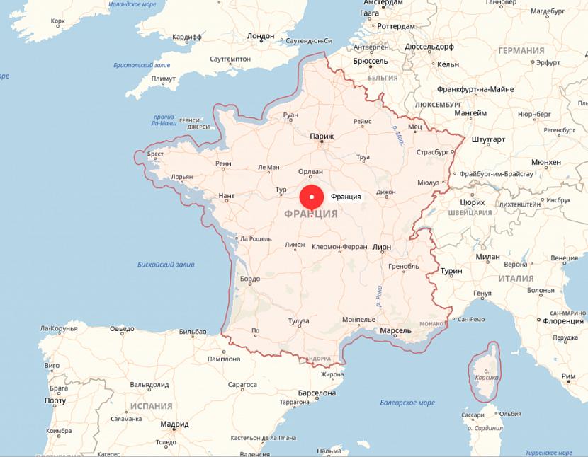 Франция на карте Европы