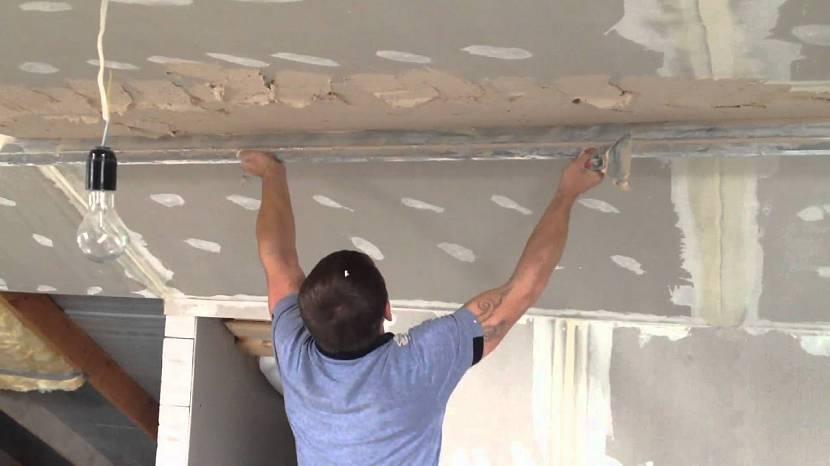 Оштукатуривание потолка по гипсокартону