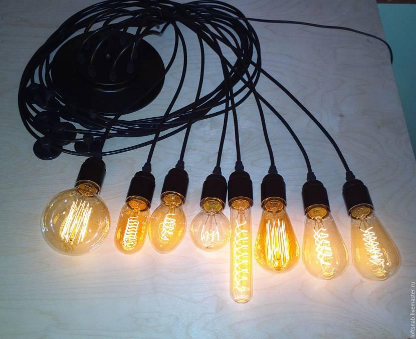 Люстра с лампами Эдисона