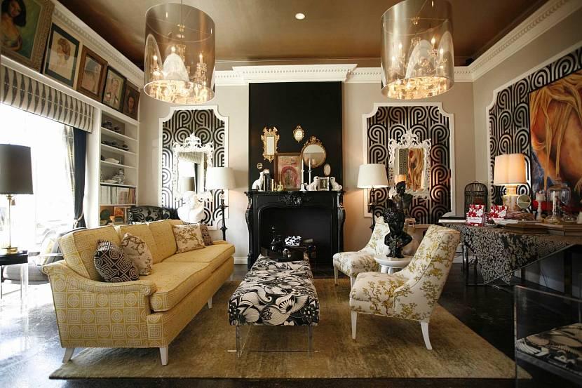 Красивый дизайн интерьера с лепниной