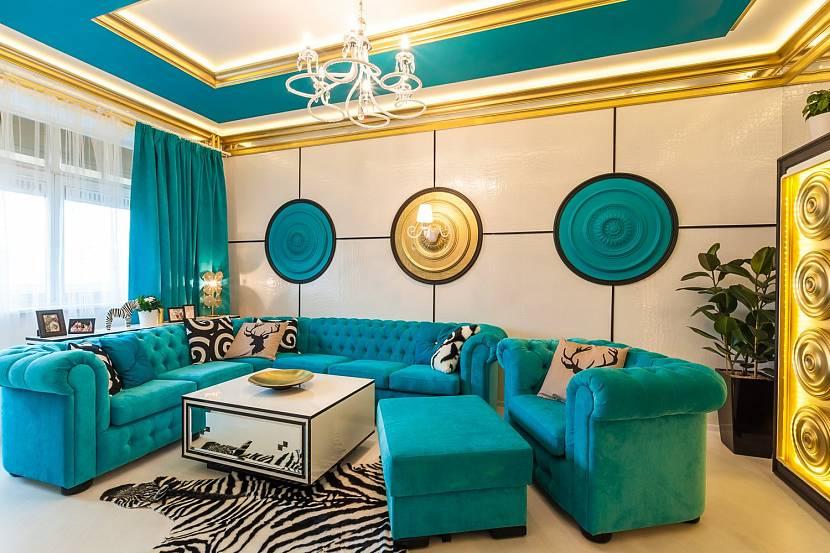 Большая гостиная в стиле тиффани