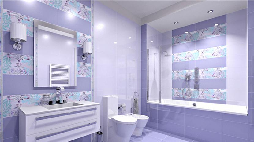Ванная в лиловом с серым