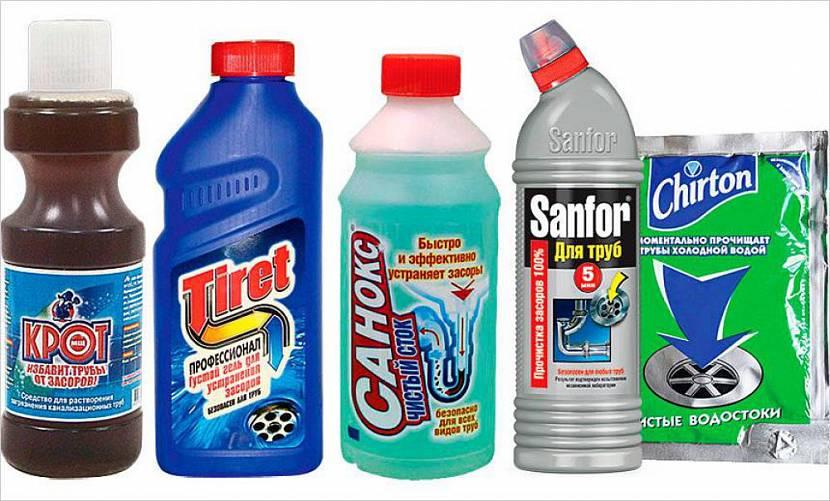 Ассортимент химических препаратов для прочистки канализации