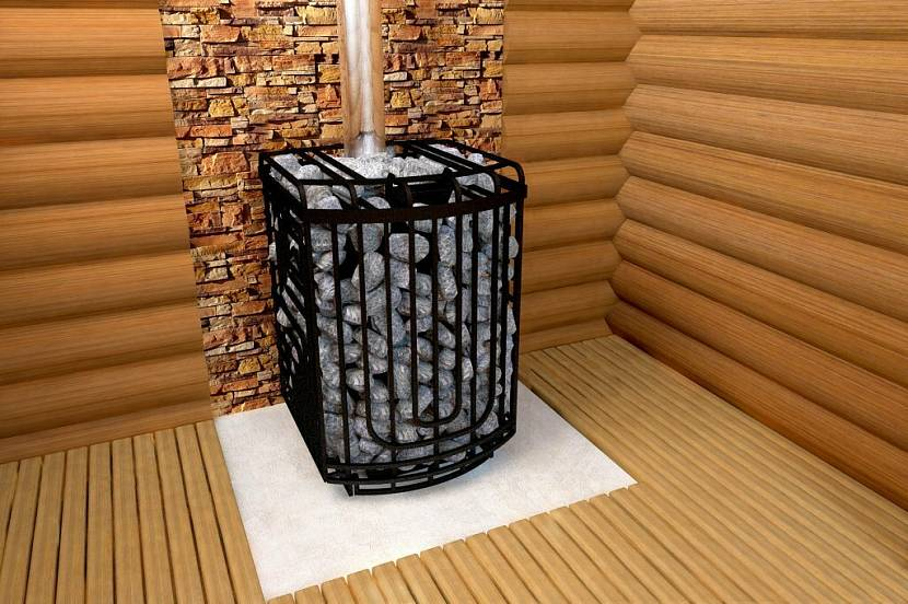 Дровяная печь с открытой решетчатой каменкой