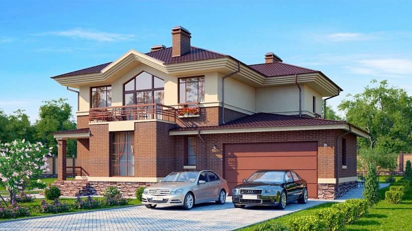 проект двухэтажного дома с гаражом на 2 машины