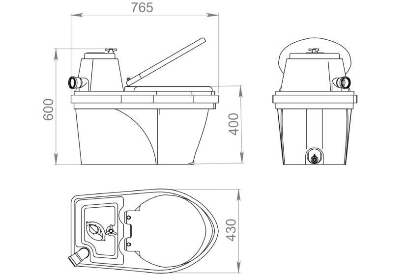 Размеры портативного туалета, включая его высоту