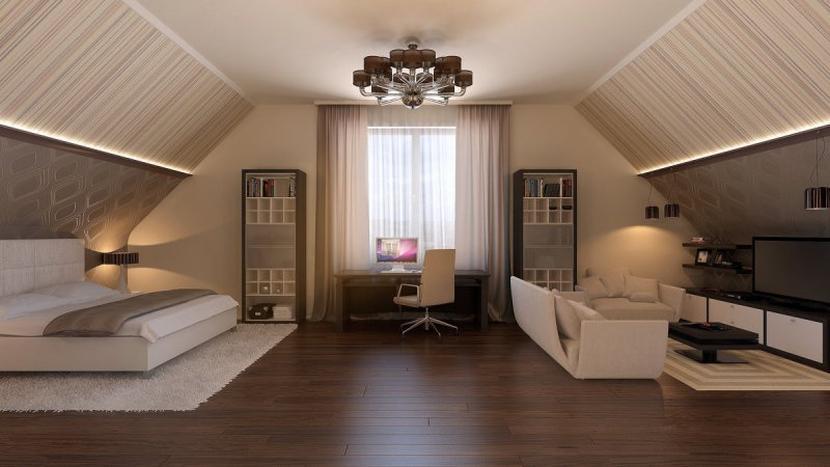 Спальня, гостиная и кабинет