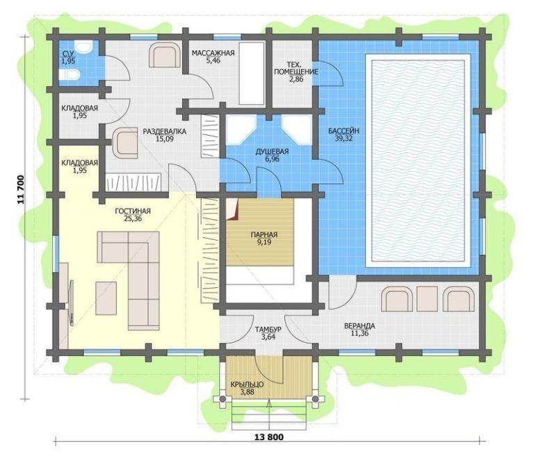 Вариант планировки бани с бассейном