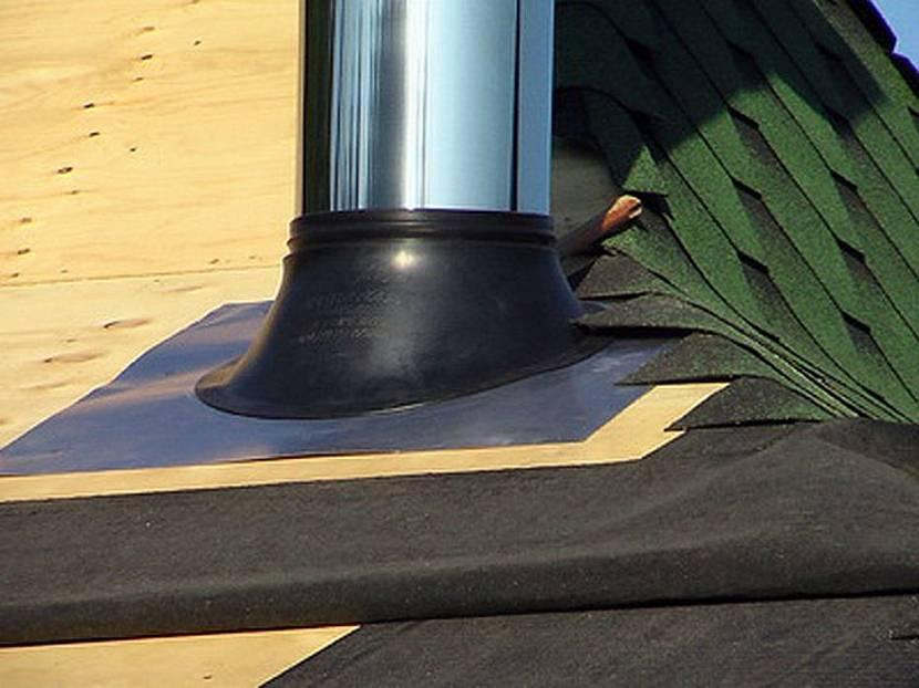 герметизация трубы на крыше из металлочерепицы