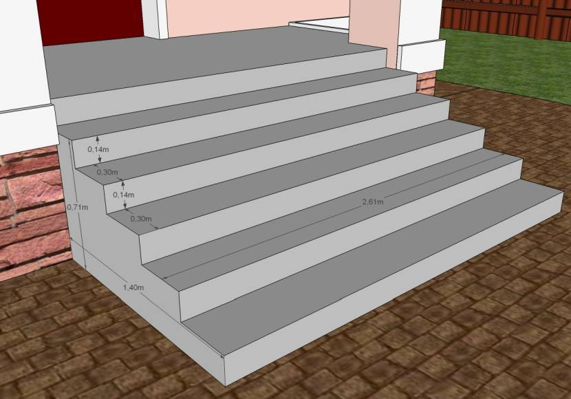 Вариант проекта крыльца, созданного при помощи компьютерной программы