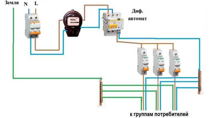 Схема с одним вводным дифавтоматом