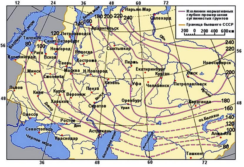 Карта СНГ с глубинами промерзания земли