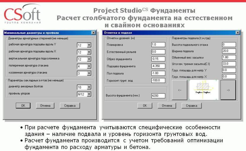 Пример интерфейса программы для расчёта фундамента