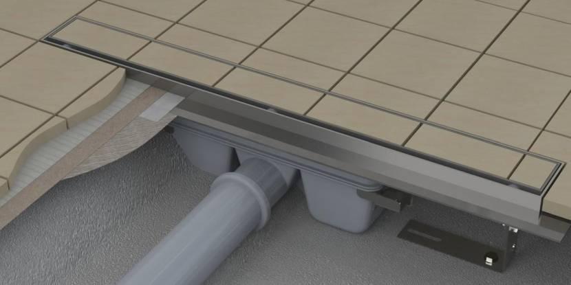Плиточный пол в бане из двух наклонных плоскостей и со сливным трапом посередине помещения