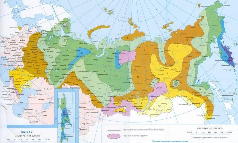 Карта снеговой нагрузки российских населённых пунктов
