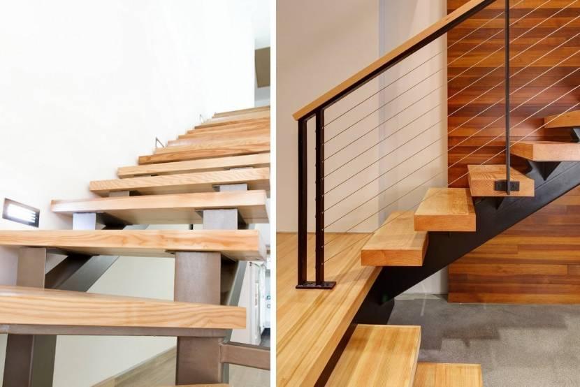 Металлические лестницы с деревянными ступенями