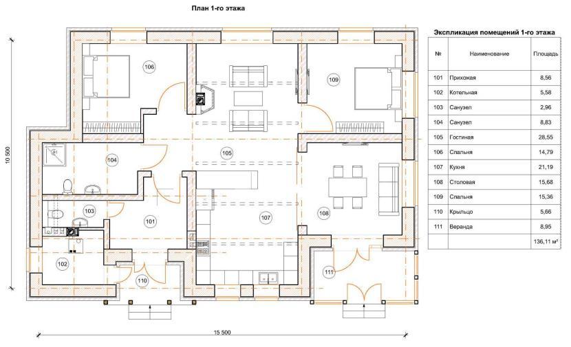 Планировка одноэтажного дома с большим и маленьким санузлом