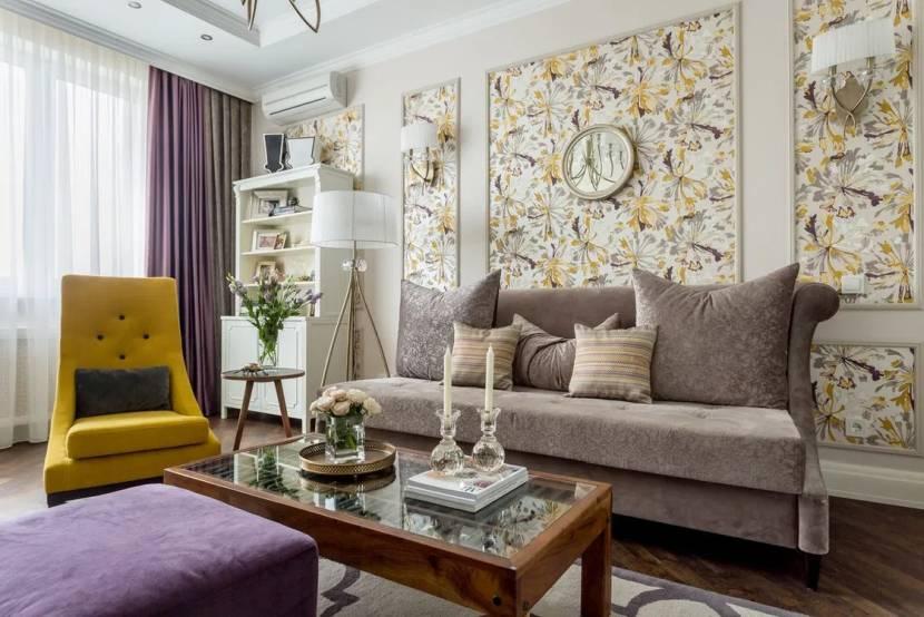 Общая цветовая составляющая в обоях и мебели