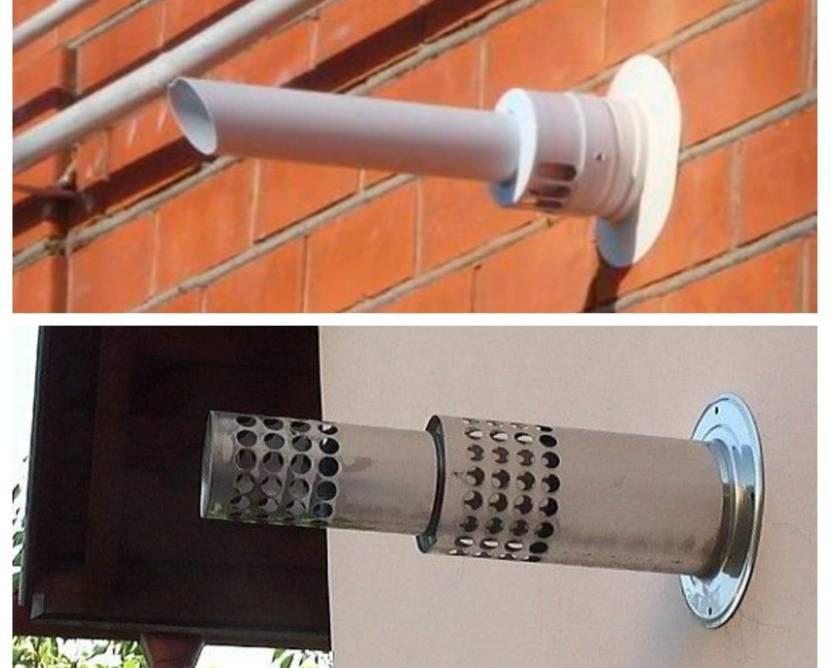 Пластиковый и металлический канал для отвода дыма