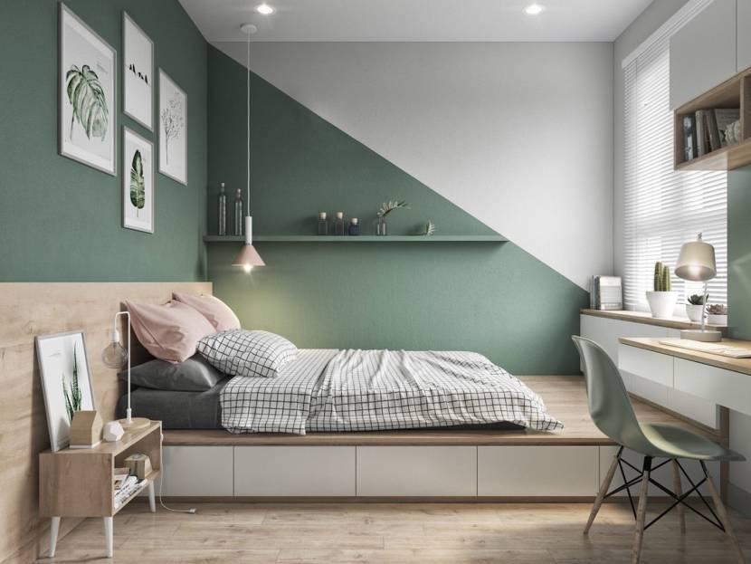 Бело-оливковая палитра в спальне с подиумом