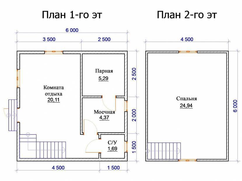 баня 6х6 планировка