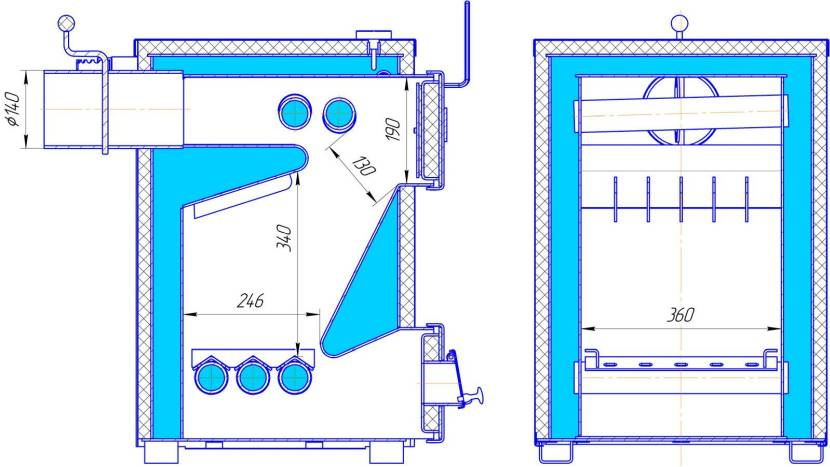 Схема для самодельного пиролизного котла
