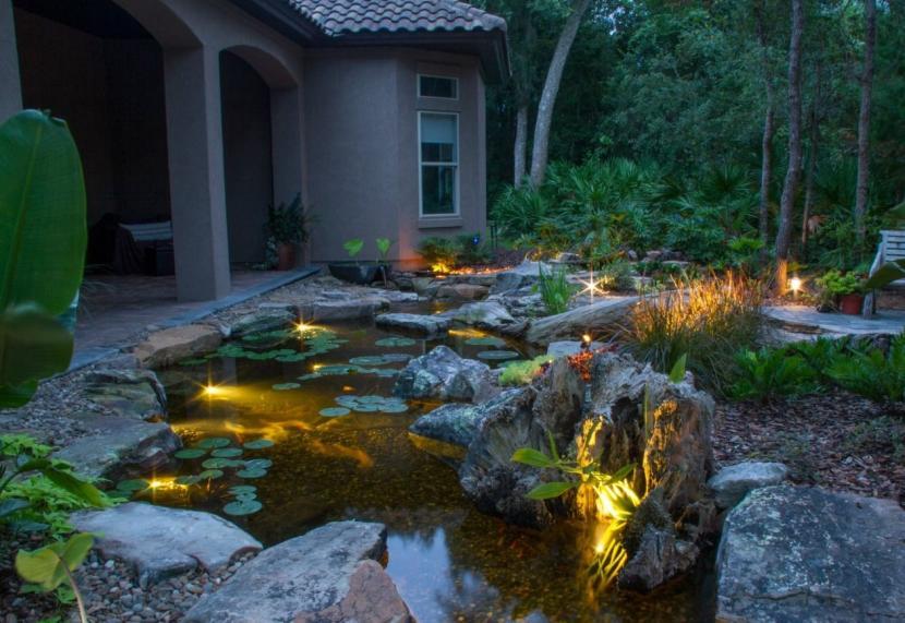 Спотовые светильники в дизайне пруда
