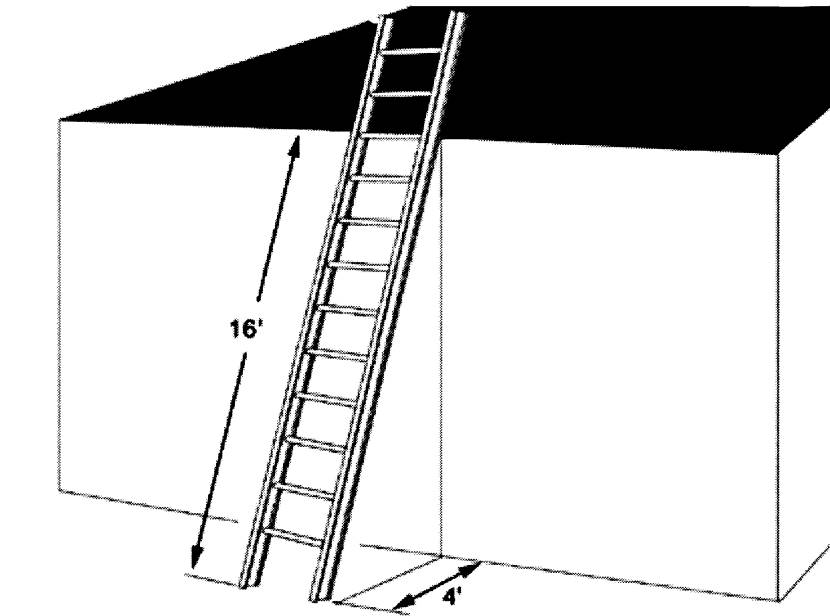 Для определения длины приставной лестницы необходимо знать высоту точки выполнения работ