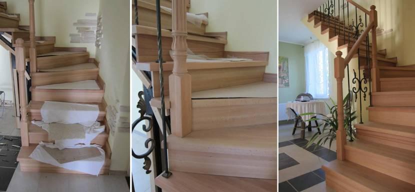 Отделка лестницы деревом по металлическому каркасу