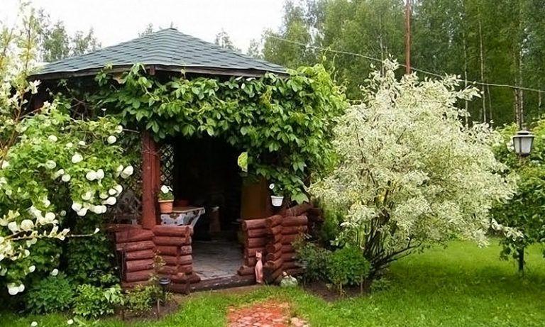 Беседка в цветущем саду