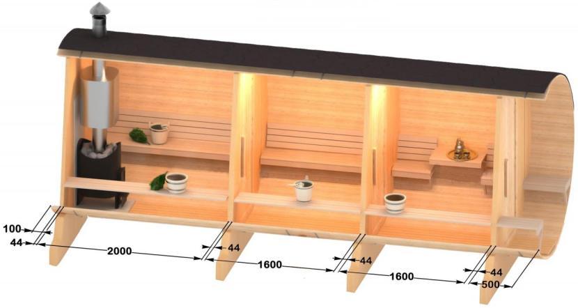 Проект бани-бочки с 3-мя секторами