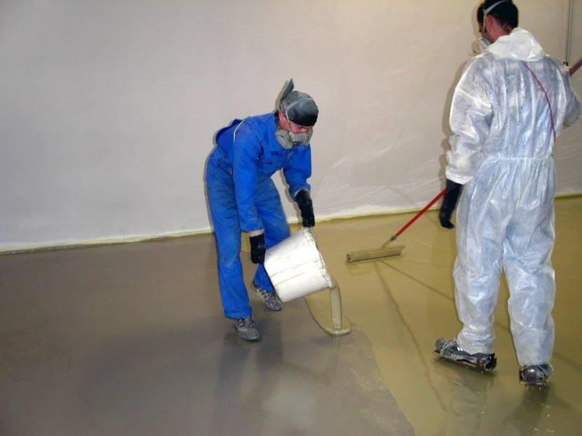 Заливание наливного пола на идеально ровную бетонную поверхность