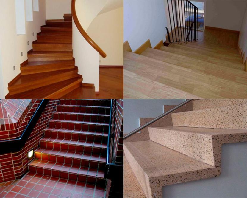 Разная облицовка бетонных лестниц