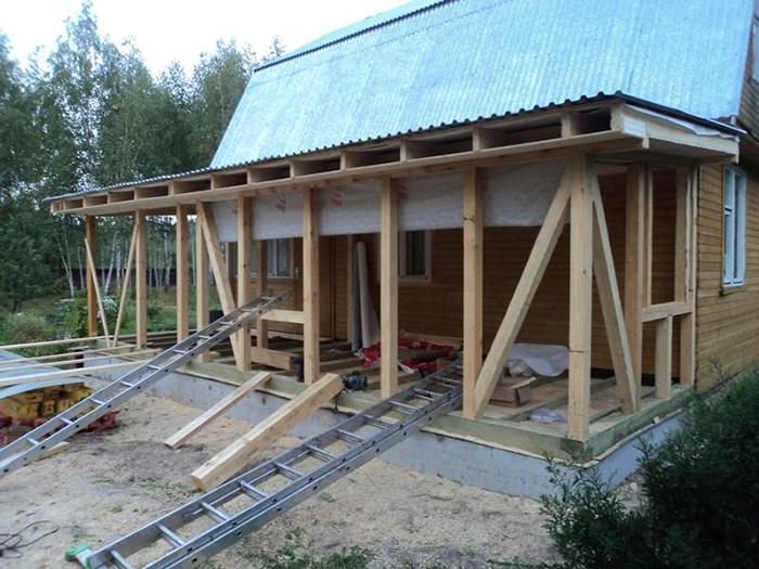 Строительство веранды к деревянному дому