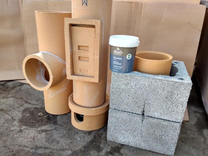 Комплект для сборки и герметизации дымохода
