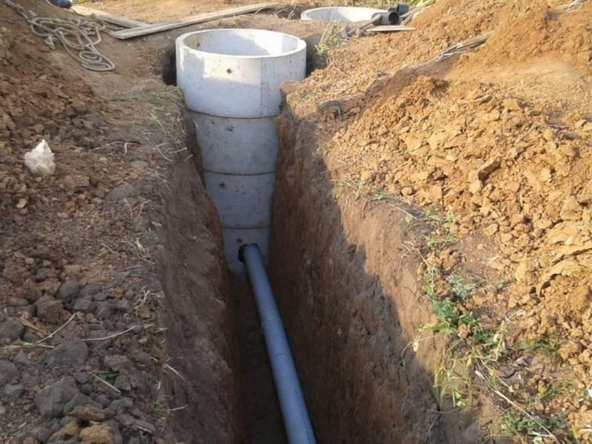 Укладка канализационного канала в траншею