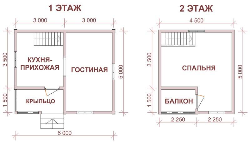 дом 5 на 6 с мансардой и балконом