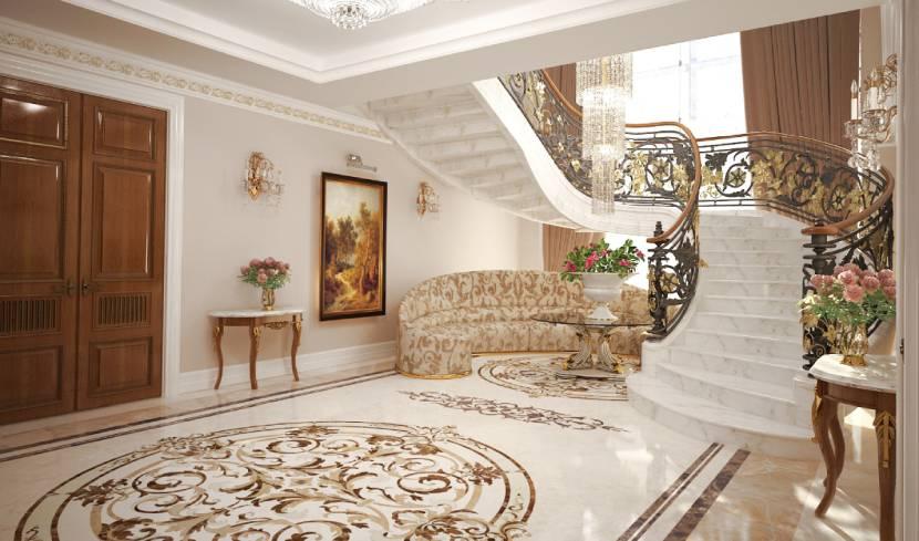 Лестница в холле загородного дома