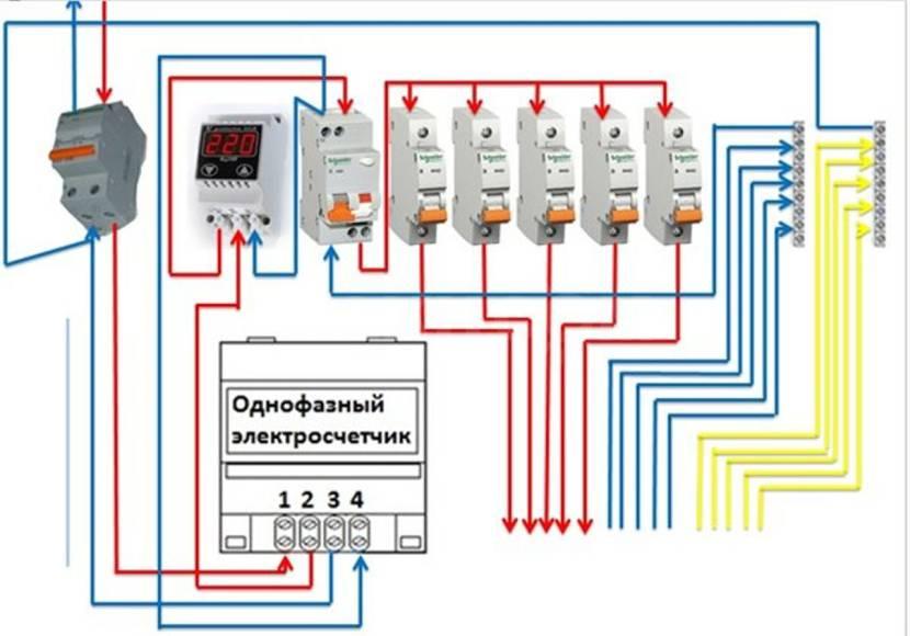 Схема подключения реле напряжения с дифавтоматом или УЗО